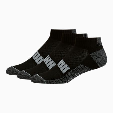 Men's Quarter Crew Socks [3 Pack], BLACK COMBO, small